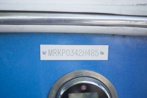 Hull identification number on a watercraft.