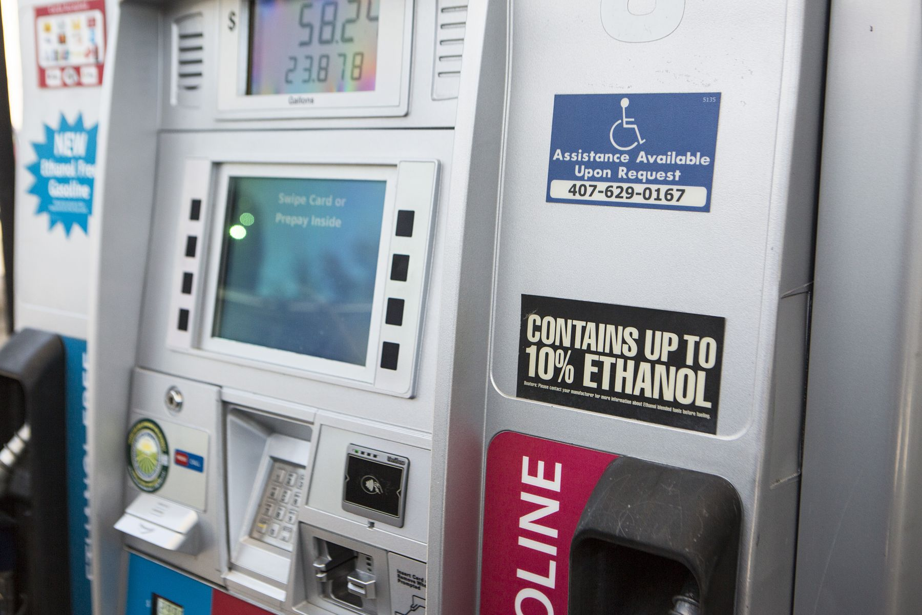 Gas at a fuel pump with 10% ethanol.