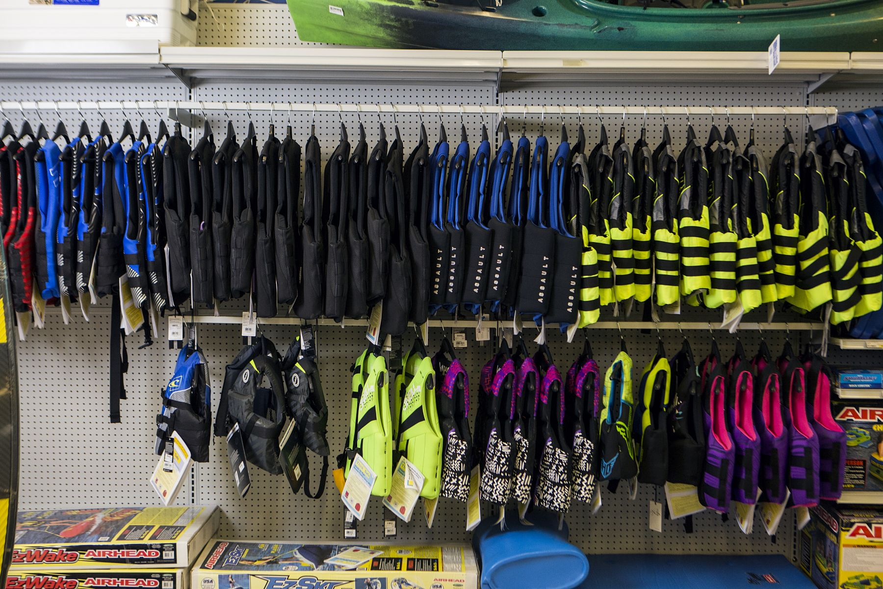 Life jackets on display at a retail outlet.