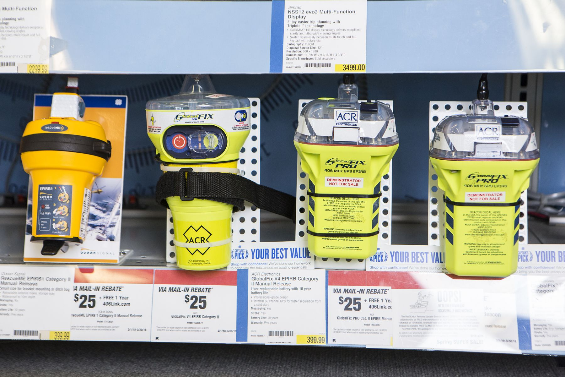 EPIRB's (emergency position indicating radio beacon) on display at a retail outlet.