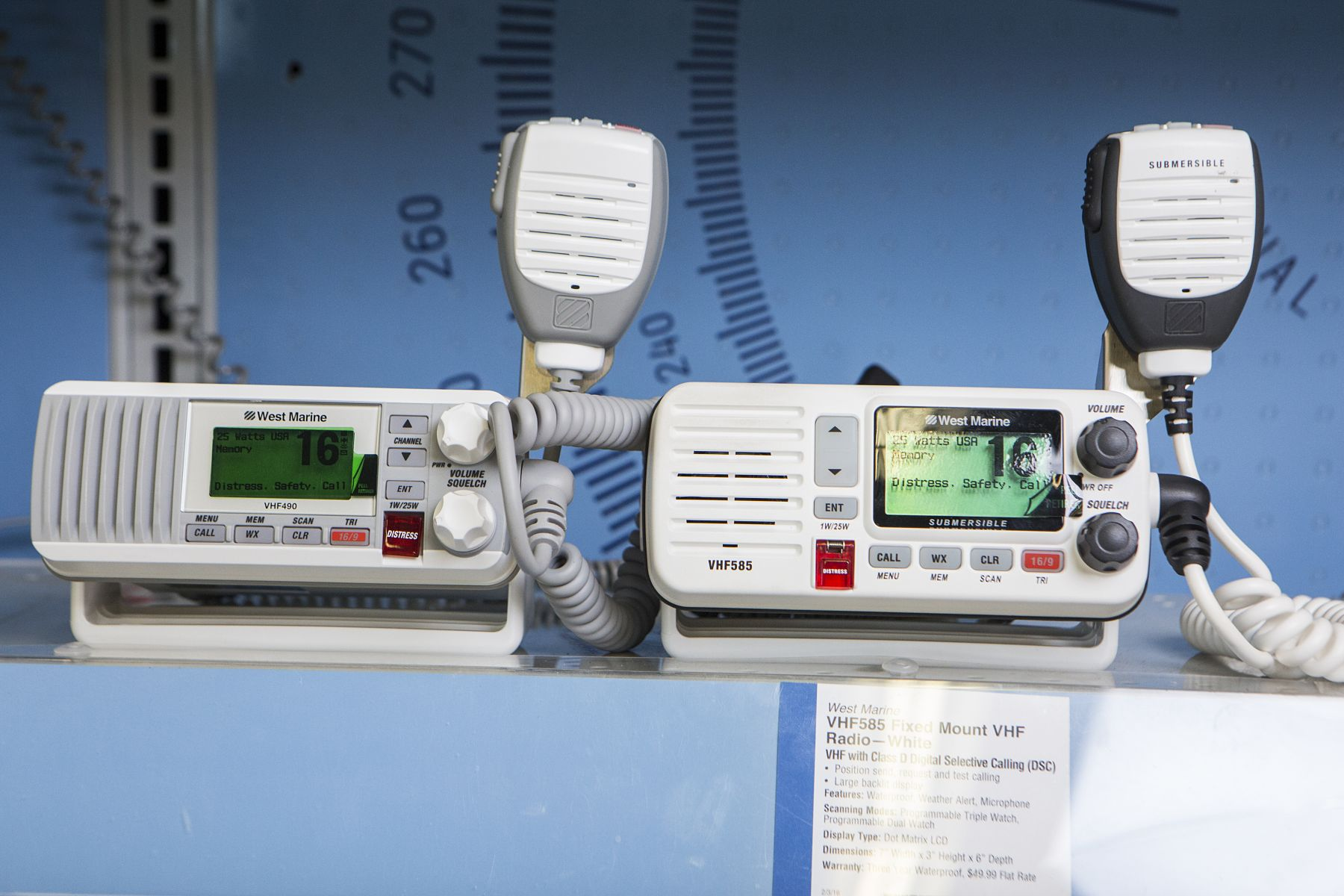 VHF radios on display at a retail outlet.