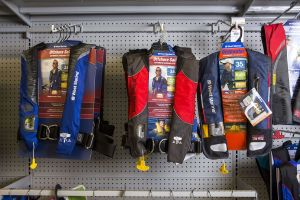 Safety equipment on display at a retail outlet.