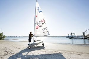 Preparing to sail while wearing a properly fitting life vest in the Sand Key inlet in Clearwater Beach.