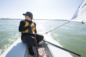 Sailing while wearing a properly fitting life vest in the Sand Key inlet in Clearwater Beach.